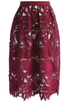 Game of Leaf Crochet Skirt in Wine - New Arrivals - Retro, Indie and Unique Fashion