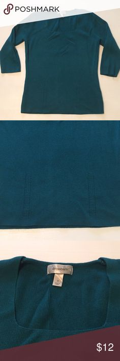 """Dressbarn Teal Knit 3/4 Sleeve Sweater Size S Good condition. Minor wear. 34"""" bust unstretched, 21.5 length. Dress Barn Sweaters Crew & Scoop Necks"""