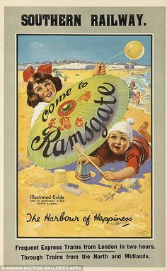 Vintage Poster Vintage railway posters of UK seaside destinations - Ramsgate - They are the images that recall another era - romantic posters advertising simple holidays in UK seaside towns. And they are about to go up for auction in New York.