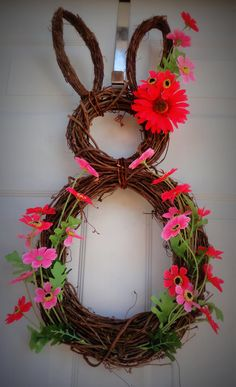 ONLY TWO LEFT - My Number One Seller - Easter Bunny Wreath - Spring Wreath - Summer Wreath - Easter Door Decoration. $52.00, via Etsy.