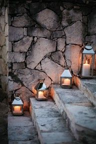 Wedding Decor-Step to Tippy front entrance using Aunt Michelles lanterns?