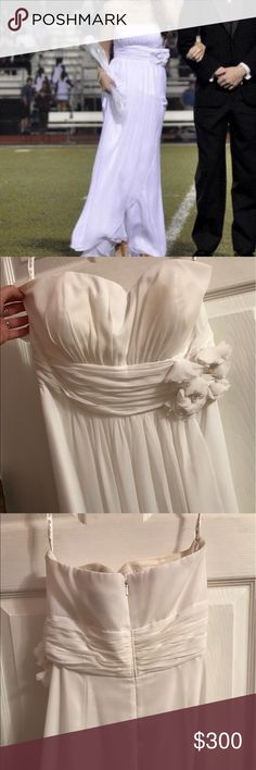 David's Bridal Wedding Dress long white strapless gown with flower embellishments; worn once! David's Bridal Dresses Wedding