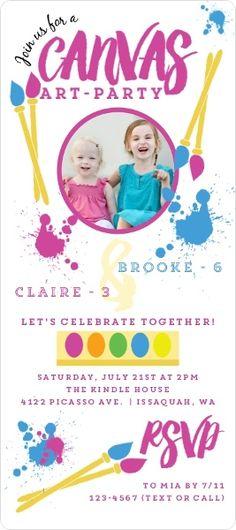 Canvas Art Kids Birthday Party Invitation