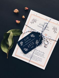 Oh So Beautiful Paper: Whimsical Pink and Navy Wedding Invitations