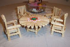 Chairs and Table for Fashion Dolls - made from wooden clothes pins (tutorial)