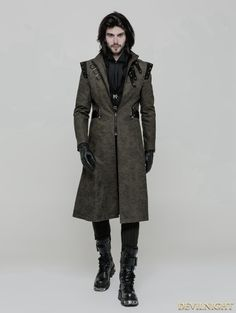 Green Gothic Punk Military Style Handsome Coat for Men