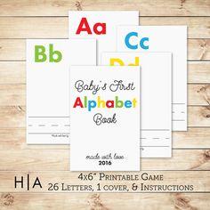 DIY Alphabet Book Baby Shower Activity Game 4x6 by HewittAvenue
