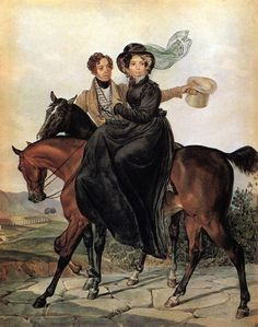 Karl Brulloff. Portrait of K. A. and M. Ya. Narishkin. 1827. Water-colour on paper. The Russian Museum, St-Petersburg