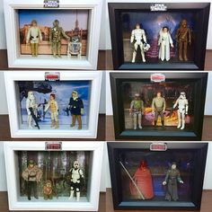 """I outfitted some 5"""" x 7"""" shadowboxes to make these mini dioramas. Download backgrounds/logos at deathbytoys.com and get condescending step-by-step instructions. #starwars #starwarsfan #starwarstoys #vintage #vintagetoys #vintagestarwarsclub #diy #diyproject #diorama #shadowbox #kennertoys #Kenner #thefirstorder #toys #toypics #nostalgia #toycrewbuddies #toycollector #TheForceAwakens #lukeskywalker #starwarsfigures #actionfigures #collector by deathbytoys"""