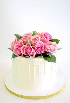 Fresh Roses Drip Cake by Cake Bash Studio & Bakery, Lake Balboa CA