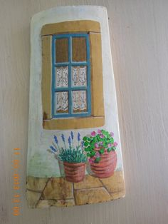 Hand painted cut Greek roof tiles by Kymacreative on Etsy, €25.00