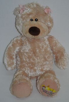 """Build A Bear Workshop On Tour Teddy Light Brown Pink Bows Stuffed Animal 17"""" #AllOccasion"""