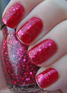 Sinful Colors Decadent, a red raspberry glitter! Worn over a base of Sephora X Fahrenheit