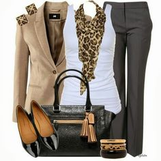 fashionista trends: workwear fashion 2012 / school days - fitted jacket, straight leg pants, white tank, leopard print scarf, black heels and bag Mode Outfits, Casual Outfits, Fashion Outfits, Womens Fashion, Ladies Fashion, Fashion Ideas, Woman Outfits, Fashion Trends, Fashion Clothes