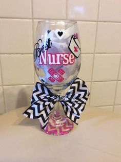 Best Nurse Wine Glass - Can be Personalized! by JudysJewelsandMore on Etsy https://www.etsy.com/listing/196145914/best-nurse-wine-glass-can-be