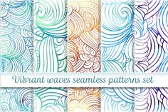Vibrant waves seamless pattern set by Sable on @creativemarket