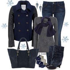 Blue & Gray Jacket. Gray Sweater. Blue Scarf, boots & purse. Earrings, necklace & bracelet.
