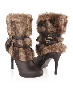 Faux Fur Trimmed Stiletto Boots - StyleSays