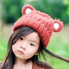Cute Bear beanie hats with ears for kids winter knit hat cheap