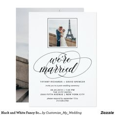 Black and White Fancy Script Photo | We're Married Card
