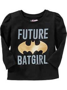 "Hooray for Old Navy telling girls they can be superheroes too (as opposed to other t-shirts in the press recently saying ""I Only Date Heroes"" and ""Training to be Batman's Wife""). Sizes 12mo - 5T."