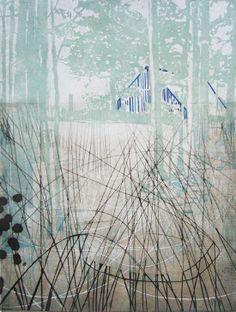 Katherine Jones - Rheine Woods - etching and collagraph on paper Abstract Landscape, Landscape Paintings, Peter Doig, Illustrations, Illustration Art, Wood Etching, Etching Prints, Gravure, Art Plastique