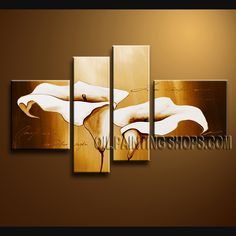 Amazing Contemporary Wall Art Oil Painting On Canvas For Living Room Cala Lily Flower. This 4 panels canvas wall art is hand painted by Bo Yi Art Studio, instock - $138. To see more, visit OilPaintingShops.com