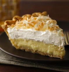 "Coconut lovers, be warned—this pie may be addictive. Coconut milk, toasted coconut and coconut extract team up for an unforgettably decadent pie that has gotten great ratings from Betty members like Dreebie, who says, ""Made this for Easter and got rave reviews. Will definitely make this again and again and again."