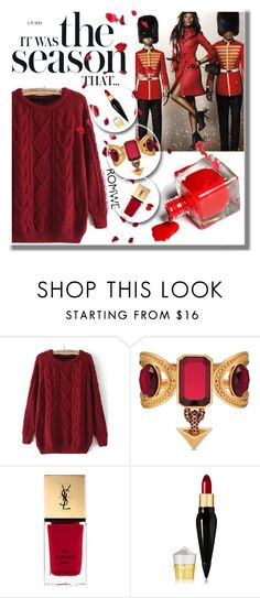 """ROMWE sweater"" by madlenbellucci ❤ liked on Polyvore featuring Alexander McQueen, Yves Saint Laurent and Christian Louboutin"