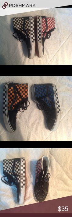 High Top Checkered Old Skool Vans with Four Colors These shoes are slightly warn but still in great condition and are super cool! Make an offer! Vans Shoes