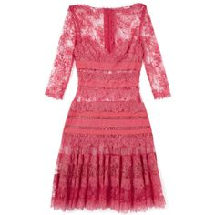Elie Saab: Berry Lace Dress (86.879.000 IDR) ❤ liked on Polyvore featuring dresses, elie saab, red long sleeve cocktail dress, red a line dress, red cocktail dress, lace dress and long sleeve lace dress