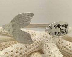 Sterling Silver Mermaid Tail Spoon Cuff/Bangle Bracelet