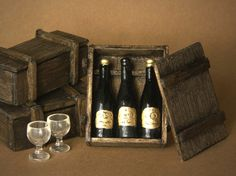 Noble Miniature Box of Wine Bottles for Your Dollhouse by DinkyWorld on Etsy https://www.etsy.com/listing/184723649/noble-miniature-box-of-wine-bottles-for