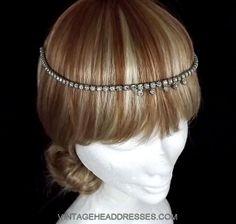 Vintage Forehead Band - Head Chain - Bridal Halo - Art Deco Headpiece - Flapper Headpiece - Vintage Halo- Bridal Headpiece - Wedding Circlet on Etsy, $114.87