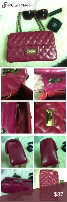 """Diamond Quilted Structured Bag Gorgeous diamond quilted bag in Fuchsia color. Vintage gold chain and turn lock.  Red interior with one zippered pocket.  Missing one screw in turn lock as photographed, can be easily replaced.  Also, thread came out in the interior side, as photographed, nothing to do with functionality. Bag width is 9.5"""", length top to bottom 6"""", drop is 13"""" and depth is 3.5"""". Please review all photos carefully and it represents the true condition of the bag.  Please ask…"""