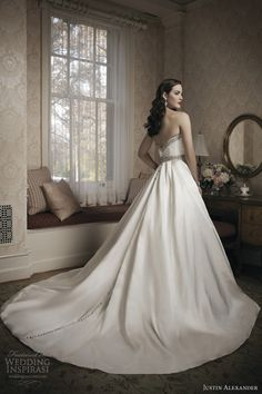 justin alexander 2014 wedding dress style 8680 beaded sweetheart neckline waistline row buttons back train