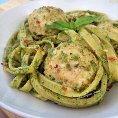 Gluten and dairy-free basil-pesto chicken meatballs with fettuccine