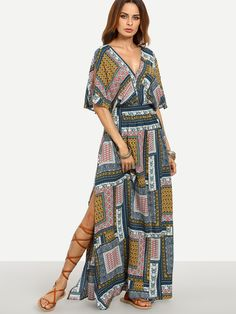 13.89$  Buy here - http://di47j.justgood.pw/go.php?t=3441 - Multicolor Print V Neck Split Side Maxi Dress 13.89$