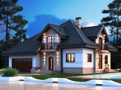 House styles - Zdjęcie projektu Opałek K Dream Home Design, Home Design Plans, House Outside Design, Building A Cabin, Backyard Pavilion, Mountain House Plans, Small Cottages, House Viewing, Cottage Style Homes