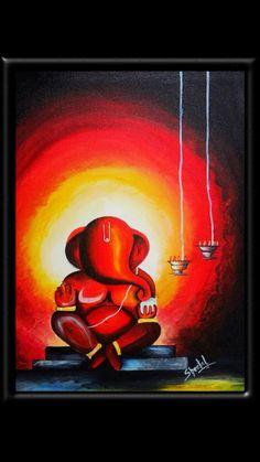 Ganesha painting - 40 Easy Still Life Painting Ideas For Beginners – Ganesha painting Ganesha Drawing, Lord Ganesha Paintings, Ganesha Art, Krishna Painting, Krishna Art, Ganesha Rangoli, Shri Ganesh, Oil Pastel Art, Oil Pastel Drawings
