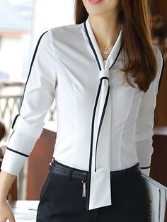 V Neck Necktie Contrast Trim Blouse Blouse Styles, Blouse Designs, Bluse Outfit, Winter Blouses, Bell Sleeve Blouse, Professional Outfits, Business Outfits, Business Style, Office Outfits
