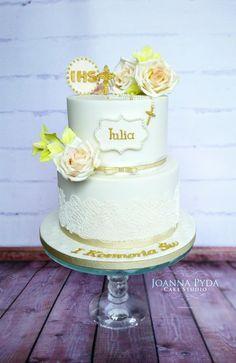 White Communion Cake - Cake by Joanna Pyda Cake Studio