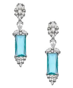 Tang & Song Sterling Silver and Blue Topaz CZ Rectangle Drop Earrings #maxandchloe