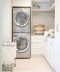 Love the stacked washer and dryer for more room in the laundry room. Home decor Find daily inspiration for all things home at Pinterest.com/blessinghomedecor