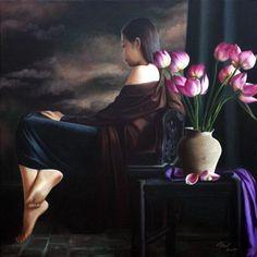 Peintre PHẠM MAI CHÂU - Ame Vietnamienne - Em là cô gái Pháp mà hồn em là người Việt