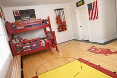 if my son likes basketball, one day he is going to come home from a camping trip and find this awesome room!