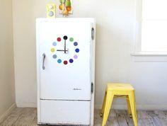 Fridge clock! 'dots' design - choose colours