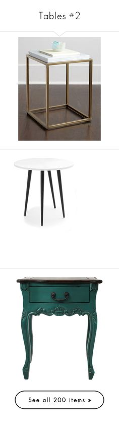 """""""Tables #2"""" by sunshine24-7-1 ❤ liked on Polyvore featuring home, furniture, tables, accent tables, gold, gold table, handmade tables, gold end table, handmade furniture and gold side table"""