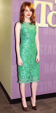 Emma Stone in kelly green lace Dolce & Gabbana at the Tonight Show with Jay Leno