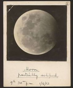 Anonymous, Moon, partially eclipsed. 1912, 1 April, 9:30 pm and 9:50 pm